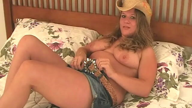 Sweetie Platinum-blonde Cowgirl Christy Unwrapping And Displaying Her Yam-sized Fun Bags In Bed Room