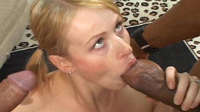 Special Blonde Female In Ponytails Sharon Eating 2 Unlikely Dark-hued Hard-ons