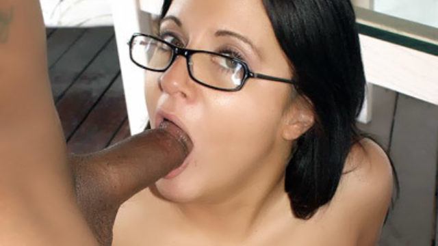 Hot Juvenile With Glasses Sucking A Black Cock