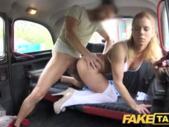 Faux Cab Nurse In Marvelous Undergarments Has Automotive Hump