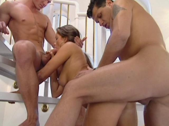 Outstanding Blonde Honey With Humungous Hooters Will Get Dual Porked At The Stairs