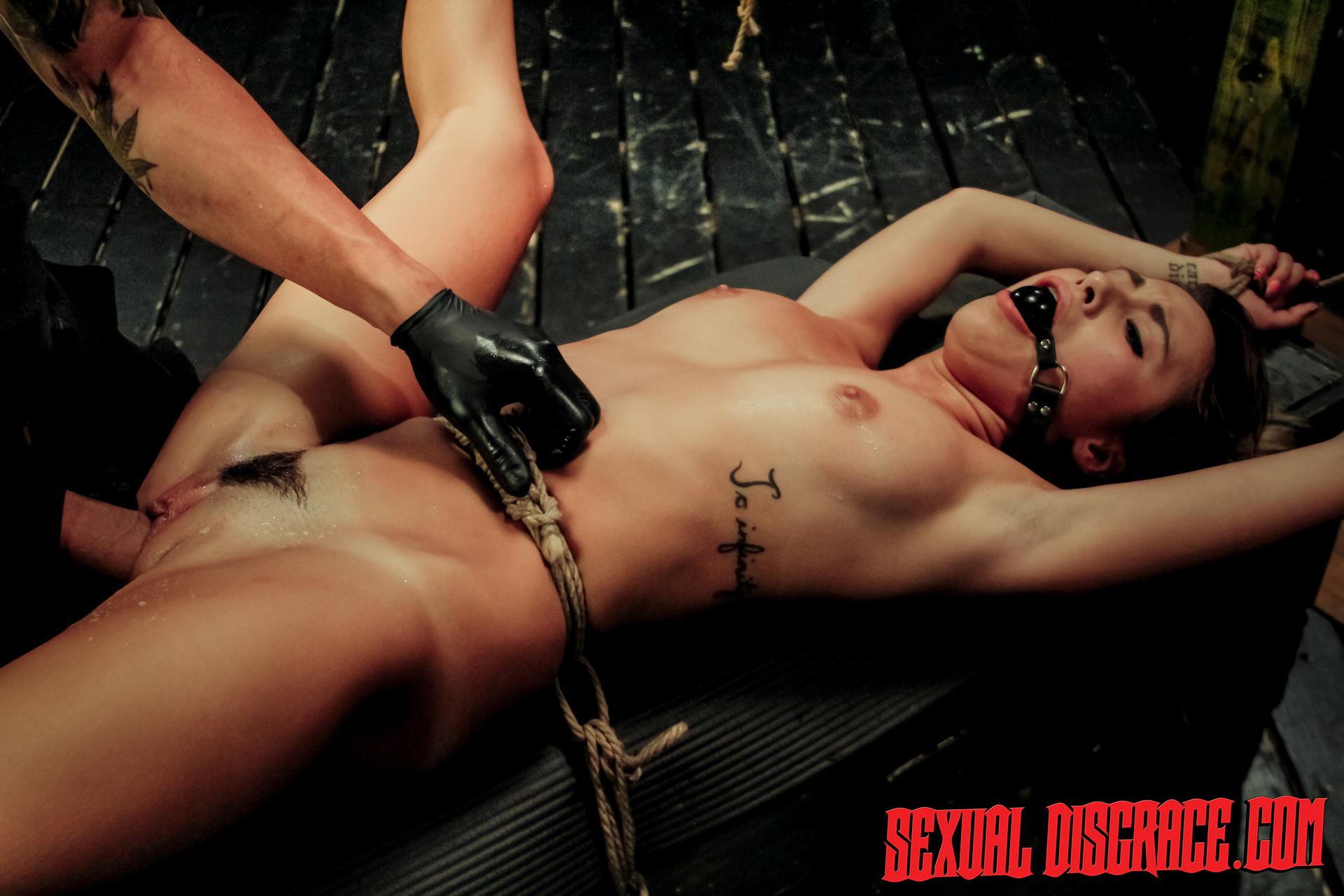 Marina Suffers Wire Restrain Bondage, Inhale Bj, Raunchy Orgy, Splashing, Spunk Facial Cumshot