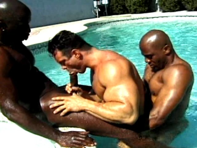 2 Naughty And Muscle Bodied Dark-hued Faggots Penetrating A Milky Fellow Within The Pool