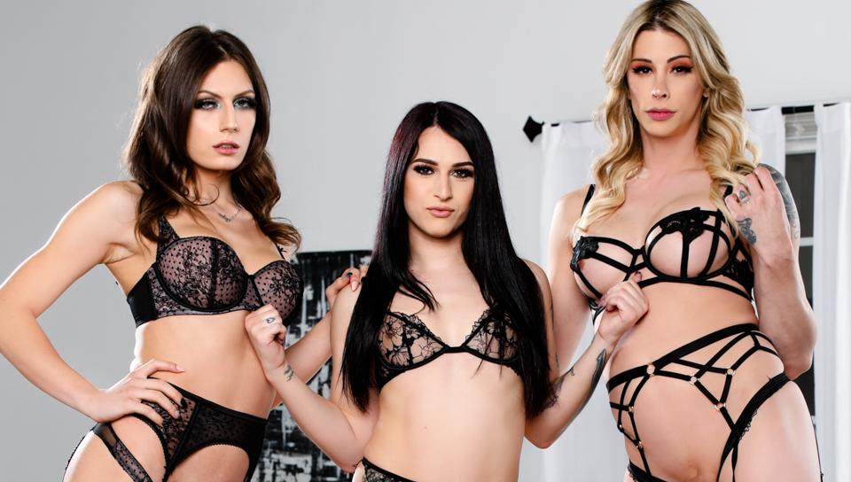 Take A Rail On The Trans Teach #02 – Casey Smooches,  Khloe Kay & Jade Venus